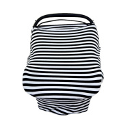 DZT1968 Baby Striped Cotton Car Seat Cover Nursing feeding Cover Scarf Multi-Use Stretchy
