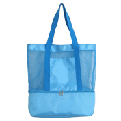 Fashion 2 in 1 Mesh Beach Tote Bag with Zippered Insulated Cooler Bag for Beach Parks Picnics BBQ Camping