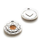 Jerusalem Holy Land Soil Embedded In An Authentic Antique Silver Hand Made By The-Story-Within   Round Pendant Magen David as the Heart Chakra