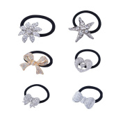 Stuffwholesale 6pcs Elastic Hair Rope Silver Butterfly/Bow Knot/Heart Rhinestone Crystal Hair Band Ponytail Holder Hair Ties Accessories