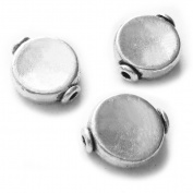 Heather's cf 72 Pieces Silver Tone Smooth round Flat Beads Findings Jewellery Making 10X8mm