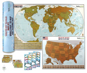World Map with US Map Scratch Off Reveal Educational Toys for All Ages Geographic Classroom Office Wall Poster