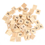 Child Early Learning Wooden Scrabble Tiles Lowercase Letters Board Alphabet Puzzle Toy 100pcs