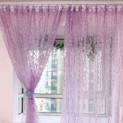 1m * 2m Curtains Rural Style Willow Leaves Pattern Offset Blind Printed Glass Yarn for Door Window Decor