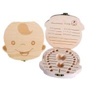 Spove Baby Tooth Box Milk Teeth Storage Case Wooden Girl Boy Memory Save Keepsake Organiser