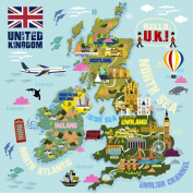 HomeEvolution Large Kids UK Map Peel & Stick Wall Decals Stickers Home Decor Art