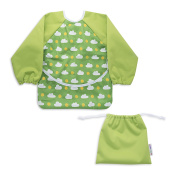 Waterproof Long Sleeve Baby Bib - Exclusive Unisex Sleeved Design with Front Pocket & FREE TRAVEL BAG - For Babies / Toddler, Girls & Boys 6-24 months - Great for Feeding & Wet Play
