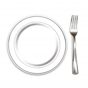 "100 Heavyweight Elegant Plastic Disposable 7.5"" Small Plates & 100 Silver Plastic Forks, Perfect for Salads, Desserts, Tapas, Appetisers, Hors d' oeuvres, Parties, Catering, Wedding Cakes"