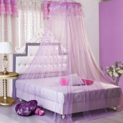 Souarts Functional Round Princess Canopy Dome Mosquito Net Lace Curtain Bed Netting Full Size Netting Bedding Purple