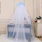 Baby bed, court Baby can fold up and down belt, support no bottom mosquito net cover,Bow Tie Blue