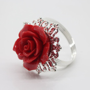 10pcs Red Rose Decorative Silver Napkin Ring Serviette Holder for Wedding Party Dinner Table Decor Many Colour Available
