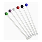 Rink Drink Gin / Cocktail Glass Swizzle Sticks - Pack Of 6 Multi Coloured Stirrers