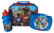 Marvel Avengers 3 Piece Lunch Box Bag with Sandwich Case & Drink Bottle Flask