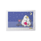 """Moomin """"Moomintroll and Snorkmaiden Snuggled Together on a Bench"""" Print Tea Towel, Multi-Colour, 70 x 46 cm"""