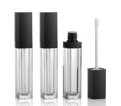 3PCS 10ml Empty Square Lip Gloss Tube Plastic Clear Lipstick Lip Balm Bottle Container with Lipbrush Black Cover for Travel and Home Use