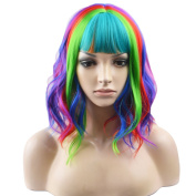 RightOn 14'' Short Curly Women Girl's Charming Synthetic Wig with Air Bangs Wig Cap Included