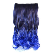 Stepupgirl Hair Extension 60cm Black to Sapphire Blue Ombre Colour Curly Curl Wavy Full Head Clip on Wig Hairpiece