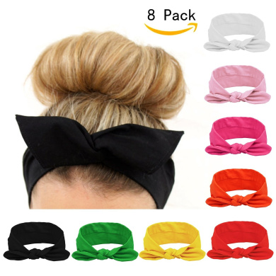 Women Headbands Turban Headwraps Hair Band Bows Accessories for Fashion Or Sport (Solid Colour 8pcs)