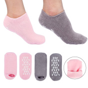Moisturising Gel Socks, Spa Moisturising Socks for Moisturise Soften Repair Rough Dry Cracked Feet Enjoy a Foot Spa Perfect for Women Men Couple Lover, 2 Pairs Grey and Pink