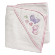 Velour Hooded Towel - 100% Cotton - with Pink coloured edging - Butterfly