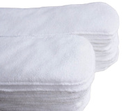 5, 10 or 15 Pieces Baby Reusable Breathable 2-Layer Cotton Nappy Inserts Liners Pads, White