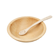 Thick Rim Wooden Baby Bowl & Spoon Set