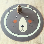Environmentally Friendly Silicone Round Animal Placemat 38cm Diameter for Baby and Kids