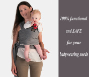 Baby Carrier Wrap Sling Ring - 2 Sling Rings added for Breastfeeding Mom - Large Pocket - Perfect Baby Shower Gift - Woven Cotton for Newborn, Infant, Toddler - Dark Grey