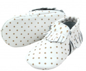 Fashionable Leather Baby Moccasins with Tassels and Gold Dots