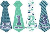 Belly Doodles 16 Monthly Baby Stickers Boys Necktie Nautical 17cm x 6.4cm