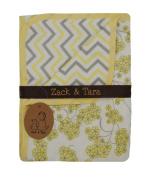 Zack & Tara Snuggle Blanket - Beautiful Blossoms & Chic Chevron in Yellow & Grey