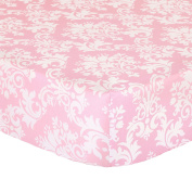Pink Damask Print 100% Cotton Sateen Fitted Crib Sheet by The Peanut Shell