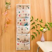 Ceeyali Cotton Fabric Wall Door Closet Hanging Storage Bag Organiser