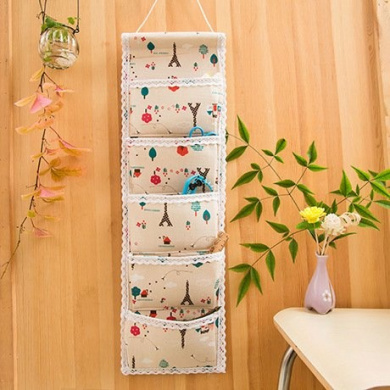 Ceeyali Cotton Fabric Wall Door Closet Hanging Storage Bag Organiser (1 Column 5 Pockets)
