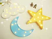 Decorative LED Crescent Moon, star, cloud Marquee Sign -Moon, star, cloud Marquee Letters LED Lights - Nursery Night Lamp GIFT for Children