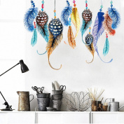 Amaonm® New Desgin Creaitve Colourful Feather Art Wall Decals Multicolor Plumage Wall Stickers Murals Removable DIY Peel Stick Decor for Kids Girls Bedroom Living room Nursery Room