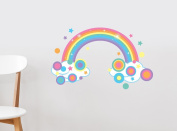 Sunny Decals Rainbow Fabric Wall Decal with Polka Dots and Stars in Pastel, Small