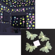 Luminous Wall Stickers Glow in the Dark Wall Decals 100pcs Stars and 4 Butterflies for Kids Rooms Home Decor