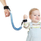 Anti Lost Wrist Link, Yoobaby Child Safety Harness Strap Rope Leash Walking Hand Belt Wrist Link with Anti Pricking Hook and loop for Toddlers Babies & Kids , 2.5m Blue