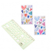 Plastic Geometric Ruler Drawings Template Heart PVC Stickers for Decorative Label Scrapbooking School Office Art Supplies