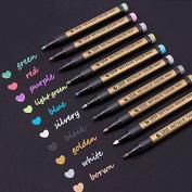 Metallic Marker Pens, Metallic Colour Painting Marker for Card Making / DIY Photo Album ,Set of 10 Colours