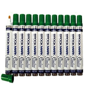 12 Pc Set Green Brockmark Slimline Industrial Paint Markers Opaque Gloss Pen Metal Wood Plastic Glass for Auto Construction Arts Home