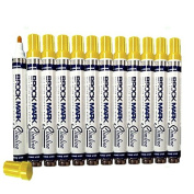 12 Pc Set Yellow Brockmark Slimline Industrial Paint Markers Opaque Gloss Pen Metal Wood Plastic Glass for Auto Construction Arts Home