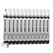 12 Pc Set White Brockmark Slimline Industrial Paint Markers Opaque Gloss Pen Metal Wood Plastic Glass for Auto Construction Arts Home
