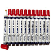 12 Pc Set Red Brockmark Slimline Industrial Paint Markers Opaque Gloss Pen Metal Wood Plastic Glass for Auto Construction Arts Home
