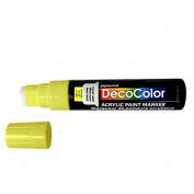 Single Yellow Decocolor Paint Marker Pen Extra Broad Line Point 1.3cm Tip Water Based Acrylic for Wood Plastic Paper Foam