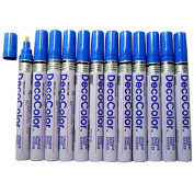 12 Pc Set Blue Decocolor Paint Marker Pens Broad Line Point Glossy Opaque on Metal Wood Glass Stone for Industrial Auto Trade Arts