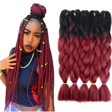 Two Tone Ombre Jumbo Braid Hair Extension 60cm 5Pcs/Lot 100g/pc Kanekalon Fibre for Twist Braiding Hair (Black-Burgundy)