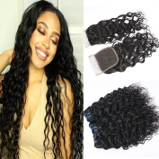 GEM Beauty Brazilian Wate Wave Hair With Closure Wet and Wavy Human Hair Weave Brazilian Virgin Hair Bundles With Closure Water Wave Hair
