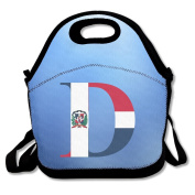 Dominican Republic Flag D Letter Convenient Lunch Bags Tote For Travel School Picnic Grocery Bags Outdoor Picnic Bag
